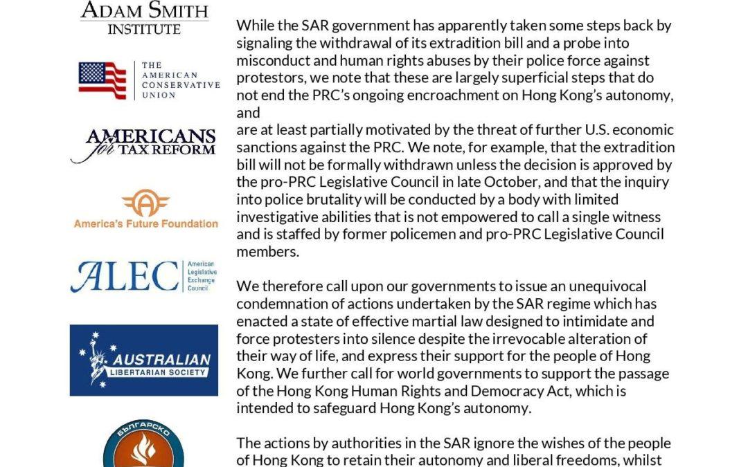 Centrum Kapitalizmu dołącza do Koalicji Hongkongijskiej
